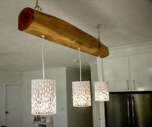 Handcrafted Custom made Island Bench Wooden Timber Pendant Light QLD Maple Wood