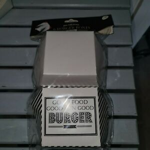 New Matalan Dine With Friends 6 Black and White Burger Boxes American Diner