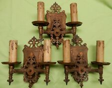 ANTIQUE  3 POLYCHROME SCONCES DOUBLE ARM WALL MOUNT MARKEL ELECTRIC PAT. PENDING