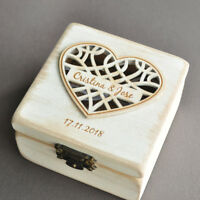 Personalized Wedding Ring Box Custom Ring Holder Wood Ring Bearer Wedding Gift