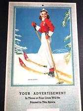 1944 Snow Queen Pin Up Girl Calendar Sample Artist Devorss Ski Skiing