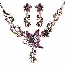 LC _ de Mujer Retro BRILLANTE CIRCONITA Mariposa Flores Collar Pendientes