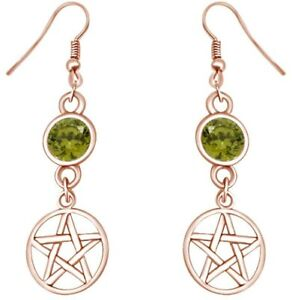 Round Simulated Peridot Five Pointed Star Dangle Earrings in 14K Gold Over