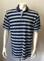 Tommy Hilfiger Men's Cotton Short Sleeve Blue stripes Pique Polo Shirt Size XL