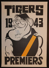 1943 Richmond Weg Poster signed Jack Dyer Polly Perkins and Len Ablett Tigers