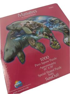 """Sealed """"Manatees by Dennis Rogers"""" 1000 Pc Special Shaped Puzzle by SunsOut"""