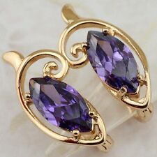 Hot Nice Purple Amethyst Marquise Jewelry Rose Gold Filled Huggie Earrings H1511