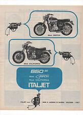 Pubblicità 1970 MOTO MOTOR ITALJET GRIFON CALIFORNIA advert werbung publicitè