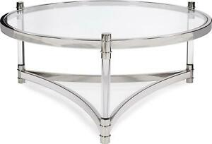 HOWARD ELLIOTT COFFEE TABLE COCKTAIL ROUND CLEAR POLISHED STAINLESS STEEL