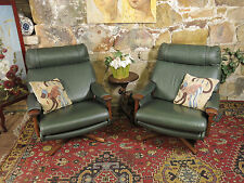 Pair Vintage Retro Leather TESSA Swivel Armchairs~Chesterfield Lounge~CHAIR.