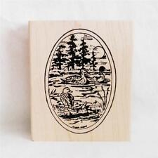 Northwoods rubber stamp Duck and Pine Oval Trees Water Sun Nature