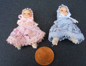 1:12 Scale Baby Boy & Girl In Blue & Pink Nursery Accessory Tumdee Dolls House