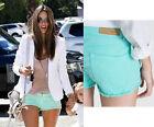 ZARA femmes clair turquoise bleu jean déchiré Short 5 poches taille 6 8 10 12