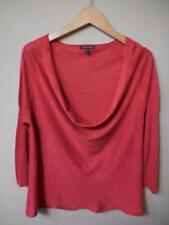 EILEEN FISHER orange silk/linen knit draped neck 3/4 sl  TOP M