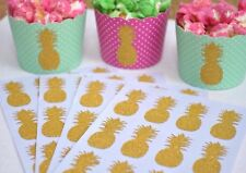 24 Gold Pineapple Glitter Stickers Tropical Hawaiian Party Favour Envelope Seals