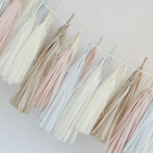 Tassel GARLAND and tissue paper POM POM party decoration set - PARTY SET