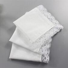 Elegant Women Vintage Ladies Handkerchief White Centered White Lace Edge