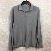 J. Crew Factory Large Mens Grey Long Sleeve Polo Shirt