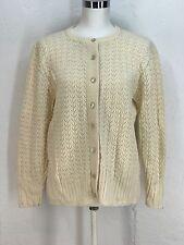 Vtg Sweater Cream granny pearl button cardigan crochet M