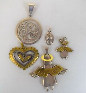 Lot of 5 Sterling Silver / Brass Pendants Mexico