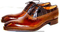 Handmade Leather brown Patina lace up oxfords for Men Custom man dress shoes