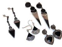 Silver Onyx Earrings Vintage Sterling Black Triangle Scrolls Marcasites Dangle
