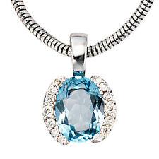 NEU Diamanten Edelstein Anhänger Blautopas hellblau 585 echt Weißgold 14 Karat