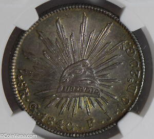 Mexico 1840 /30 GO PJ 8 Reales silver NGC UNC stunning green toning lustrous NG0