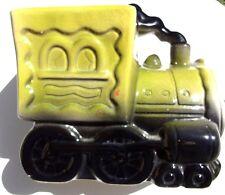 Vintage LARGE Ceramic Happy Train Engine Coin / Piggy  Bank - Green Black