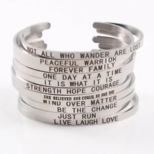 """""""DON'T LOOK BACK"""" Engraved Mantra Bangle- Stainless Steel- FREE SHIPPING"""