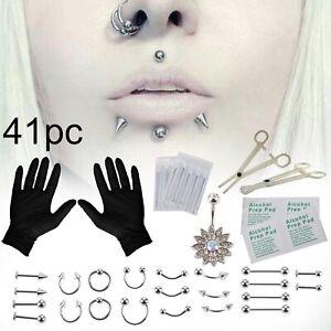 41PCS Body Piercing Jewelry Tool Belly Tongue Eyebrow Nipple Lip Needles Kit YJ