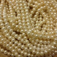 "5 strands Fresh Water Pearl, White Potato, 7 - 7.5 mm, loose beads 15.5"" WP343-7"