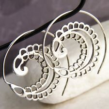SILVERSARI Open Spiral PLUMULE Hoops Creole Earrings Solid 925 Silver ES1083