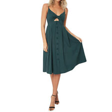 Women's Strappy Button Bowknot Lace Up Ladies Summer Beach Midi Swing Sun Dress