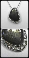 Neu 42cm+6cm HALSKETTE EPOXID braun SWAROVSKI STEINE kristallklar SCHLANGENKETTE