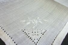 """6 Linen Napkins 10""""off white with cutwork and embroidery white"""