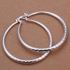 925 Sterling Silver Hoop Pierced Earrings L2