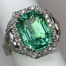 NEW BIG Colombian Light Green 5.9ct Emerald+Diamonds 14K White Gold Ring Sz 6.75