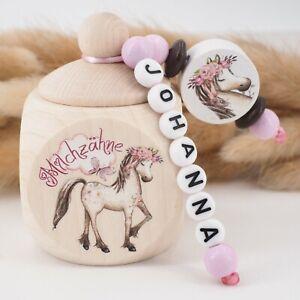Milchzahndose mit Namen ❤ Geschenk Mädchen Zahnfee Pferd Blumen rosa natur