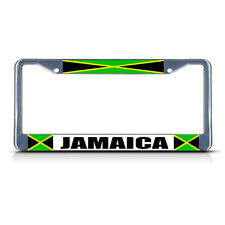JAMAICA JAMAICAN FLAG COUNTRY  Chrome Heavy Duty Metal License Plate Frame
