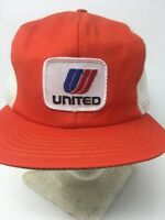 Vintage United Airlines Snapback Mesh Orange Trucker Hat Cap Embroidered Patch