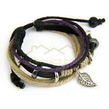 New Ethnic hemp leather strap Charm bracelet wristband leaf handicraft Cream-col