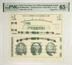 Giori Test Note, (ca. 1970s) Washington CenterGreen Front/Blank Back PMG 65 EPQ