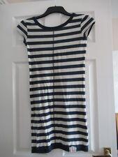 SuperDry 100% Soft Cotton Dress - Ivory Navy Stripe - Short Sleeves - Size S