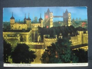 Vintage Used Colour Post Card The Tower of London and Tower Bridge