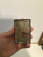 Antique Vanity Barber Shaving Scalloped edge Mirror Stamped Tin Civil War 1860s
