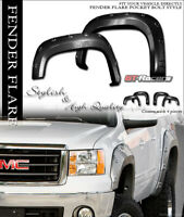 For 2007-2010 Sierra 2500 6.5/8' Black Boss Pocket Rivet Style Fender Flares es