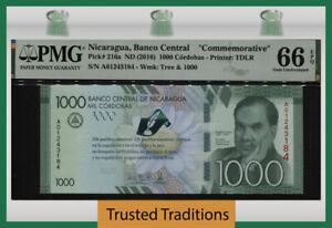 TT PK 216a 2016 NICARAGUA BANCO CENTRAL 1000 CORDOBAS COMMEMORATIVE PMG 66 EPQ!