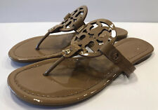 Tory Burch Miller Nude/Sand Patent Leather Thong Sandals Sz 8 M