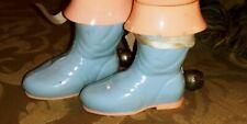 Vintage STAHLWOOD Plastic pair of Baby Child booties rattle w bells blue & pink